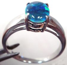 Australian Opal Ring Natural Black Triplet Opal Ring Sterling Silve STAMPED 925