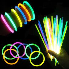 """1x100  8"""" Glow Sticks Bracelets Necklace Party Favors Neon Color Connectors"""