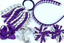 Purple & Grey School Hair Bow Clips Alice band Korker  PonyTail Holder Set