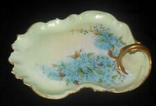 T&V Limoges Venice Painted Gold Looped Handle Tray Blue Forget Me Knots 1898