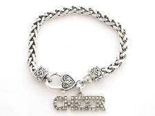 Cheer Text Cheerleading Silver Chain Bracelet Clear Crystal Jewelry