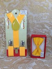 New Matching Clip-on Suspenders + Bowtie for Kids Toddler Boys Girls Children@