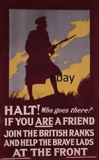 WW1 RECRUITING POSTER BRITISH ARMY HALT WHO GOES THERE NEW A4 PRINT