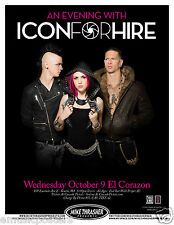 ICON FOR HIRE 2013 SEATTLE CONCERT TOUR POSTER-Alternative Metal, Pop Punk Music