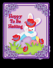 """PURPLE T SHIRT 4X RED HAT BUNNY """"HOPPY TO BE HATTING"""" FOR LADIES OF SOCIETY"""