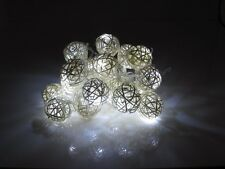 Handcrafted UK Battery Operated Cream Rattan Ball Cool White 2M LED Fairy Lights