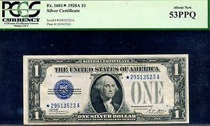 FR-1601* - 1928-A $1 S/C (( Blue Seal - STAR )) PCGS 53 PPQ *29513523A-