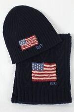 Polo Ralph Lauren Cableknit Wool Navy Blue Flag Scarf Beanie Hat Set NWT
