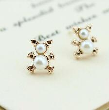 Shiny 14K/14ct Rose Gold Plated Cute Small Teddy Bear Pearl Stud Earrings Gift