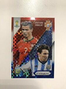 2014 Panini Prizm Matchups Red White Blue Cristiano Ronaldo Lionel Messi