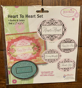 """Justrite rubber stamp set Oval 2 1/4""""x 3 1/16"""" nip Heart To Heart Set- Greeting"""