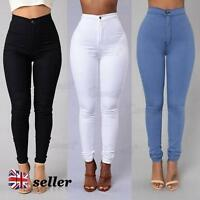 UK Womens Ladies High Waisted Skinny Jeans Stretch Denim Jegging Pants Size 8-16