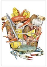 Flour Sack Kitchen Dish Towel Crab Boil Mary Lake - Thompson New