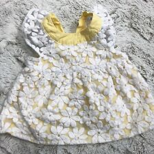 Gymboree Baby Girl Shirt Top Floral Flowers Bow Back White Yellow 6-12 Months