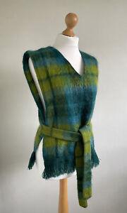 BEN NEVIS Fabulous Turquoise & Lime Green Highland Wool Sleeveless Top O/S