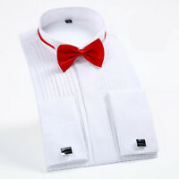 New Luxury Formal Business Dress French Cuff Shirt with Cufflinks,Bow Tie XT338
