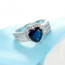 Blue Heart CZ Stone 925 Sterling Silver Ring for Women - Size 9 - Engagement