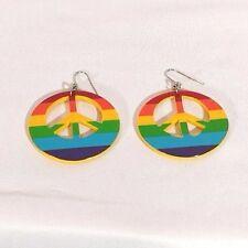 Rainbow Peace Sign Dangle Earrings #138