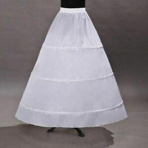 White 3 Hoop Petticoat Crinoline Long for A Line Wedding Dress Bridal Underskirt