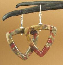 Jasper stone big triangle earrings. Red, brown. Sterling silver 925.
