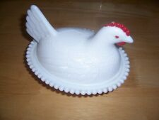 White Milk Glass Hen On Nest Candy Dish Chicken Lidded