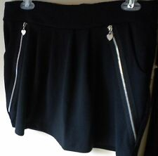 POOF Apparel Solid Black Polyester Blend Junior Chic Mini Skirt.  Size L Junior.