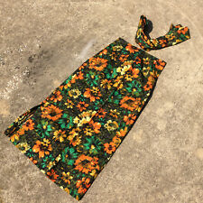 Mint Vintage Womens 70s Floral Skirt with Belt Hippie Boho Long Flower