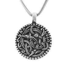 """Bird Spiral Ringerike Viking Norse Symbol Pewter Pendant Necklace 20"""""""