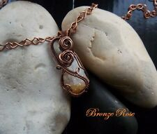 Handmade OOAK copper wire wrapped citrine necklace