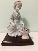 Beautiful Traditional Japanese Porcelain Figurine Of A Woman Kneeling Wood Base