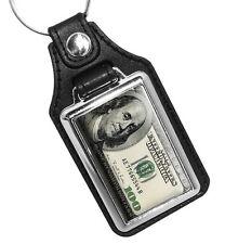 Ben Franklin One Hundred Dollar Bill $100 Design Faux Leather Key Ring