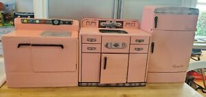 Vintage 50s Pink Wolverine Metal Toy Kitchen Set Sink Stove Refrigerator tin