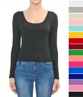 S-L Basic Long Sleeve Lace Trim Scoop Neck Top T-Shirt Soft Cotton Stretch Knit