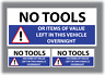 3 x No Tools Or Items Of Value Left In This Vehicle Overnight Stickers Van Blue