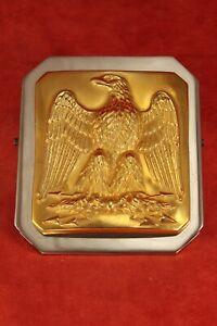 Ravinet D'Enfert France Chrome & Gold Tone Desk Clip w Eagle Patriotic American