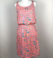 Lilly Pulitzer Womens Medium M Dress Gathered Elastic Waist Striped Floral Pink