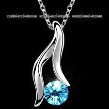 Unique Blue Crystal Pendent Necklace Xmas Present Love Gift For Her Wife Women