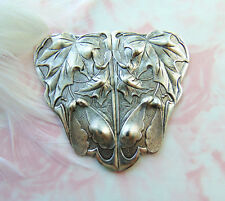 ANTIQUE SILVER Large Plaque Leaf Stamping ~ Jewelry Oxizided Finding (C-1008)