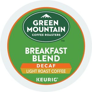 Green Mountain DECAF Breakfast Blend Coffee 24 to 144 Keurig Kcups Pick Any Size