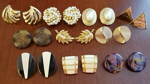 10 Pairs Clip-On Earrings Gold Tone Pearl Black Rhinestone Fashion Jewelry EUC