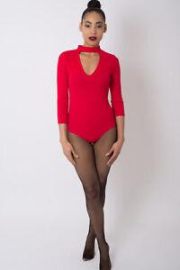Womens Red Choker Bodysuit Top  Ladies One Piece Leotard Blouse Jumpsuit