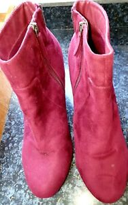 CITY CHIC ANKLE BOOTS PLUS SIZE 44 (14) RUBY SUEDE VELOUR