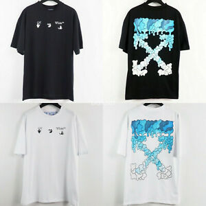 Unisex Off White C/O Virgil Abloh Casual Cotton Short Sleeve Arrow Print T-shirt