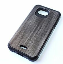 Kyocera Hydro Wave / Air -HARD TPU RUBBER HYBRID CASE COVER GRAY PLASTIC WOOD