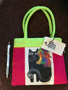 "LAUREL BURCH SMALL PURSE BAG BLACK CAT BIRDS CLOTH GREEN RED 7"" x 9"""