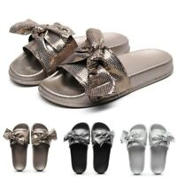 Womens Flat Slides Sandals Sparkly Sliders Crystal Diamond Casual Flat Slippers