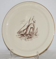 "Lenox Sailboat Nautical signed P. Holmes Gold Trim 12.5"" Collectors Plate"