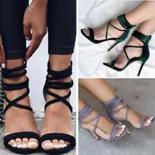Womens Sandals High Heels Stiletto Party Nightclub Suede Gladiator Ankle Strappy