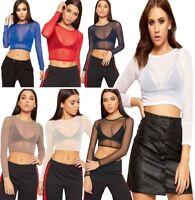 Womens Sheer Mesh Crop Top Ladies Long Sleeve See Through Stretchy Mesh Top