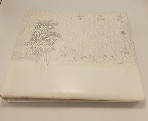 "1950's Wedding Photo Album 14"" x 12"" White Silver Embossed  Bouquet Our Wedding"